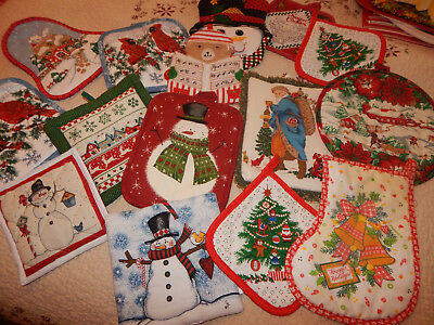 Large (15) Lot of Misc. Christmas - Snowmen Pot Holders - Hot Pad - Some Vintage
