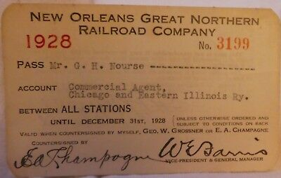 Railroad Pass Annual New Orleans Great Northern 1928 Nourse  3199