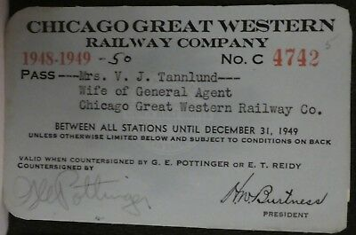 Railroad Pass Annual Chicago Great Western 1948-49 Mrs. Tannlund   4742