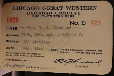 Railroad Pass Annual Chicago Great Western 1929