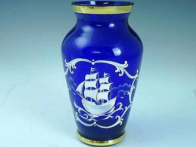 Large Cobalt Blue Mary Gregory Glass Vase With Ship