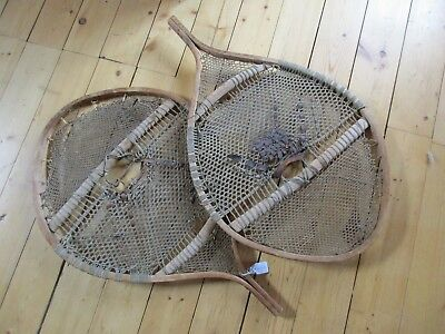 """Rare """"round"""" Vintage Wooden Snow Shoes, Large Fur Trade, Trappers   Day O-227"""
