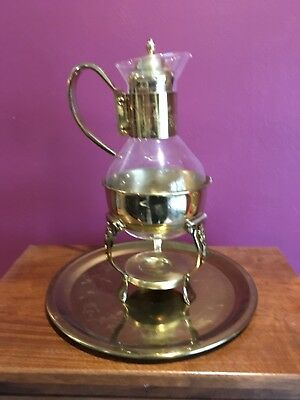 glass brass coffee pot and brass platter never used