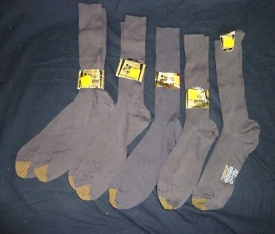 FIVE Pairs NWT Vintage Men's GOLD TOE Grey Nylon Mid Calf Dress SOCKS