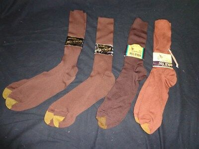 FOUR Pairs NWT Vintage Men's GOLD TOE Brown Nylon Mid Calf Dress Socks 10 - 13