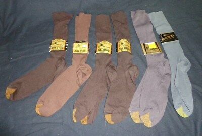 SIX Pairs NWT Vintage Men's GOLD TOE Tall Nylon Dress SOCKS