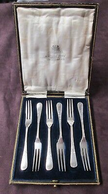 English 6 Silverplate Berry Forks Brite Cut Florals Fitted Case Early 20th C