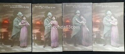 4 x Set Of French WW1 Era Postcards Uniformed Soldier With Sweetheart