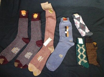 SEVEN Pairs Vintage 1950's  1960's Men's NWT Patterned Dress SOCKS Wool Argyle