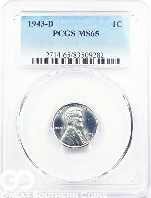 1943-D PCGS Lincoln Cent Wheat Penny, Wartime Steel Penny, PCGS MS 65