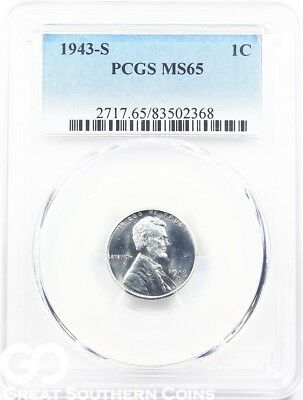 1943-S PCGS Lincoln Cent Wheat Penny, Wartime Steel Penny, PCGS MS 65