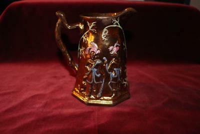 Superb Rare Antique Copper Lustre Sml Pitcher W/2 African/Indian Warriors & Dogs