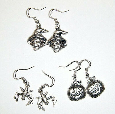 3 Pairs Halloween Charm Earrings - Witch  Jack O Lantern Bat Silver Plated Hooks