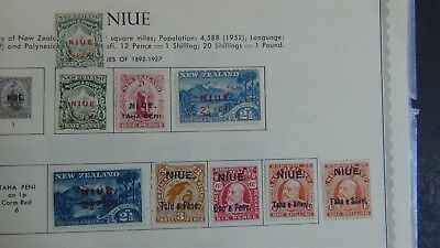 British Niue stamp collection on pages w/ 100 stamps or so high $$