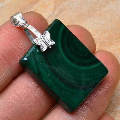 100% Solid 925 Sterling Silver Natural Malachite Gemstone Pendant 1 1/2""
