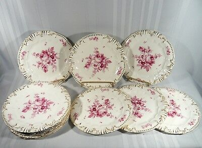 """Very RARE 12 Antique Fischer J Budapest Puce 9 5/8"""" Cabinet Plates  Zsolnay Pecs"""
