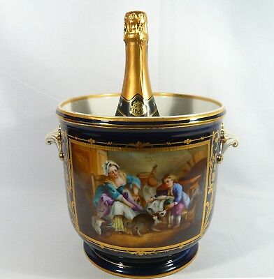 Antique LARGE Sevres Style CACHEPOT Hand Paint ICE BUCKET Jardiniere 19th Centur