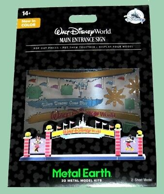 Disney Parks Walt Disney World Main Entrance Sign Metal Earth 3D Model Kit New