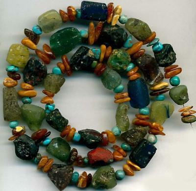 Roman Ancient Glass Beads Blue Green Red, Turquoise~Amber Centuries Old~ 23""