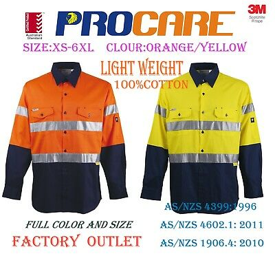 Hi Vis Shirt Safety 100%Cotton Drill Work Wear, Long Sleeve, 3M Reflective Vents