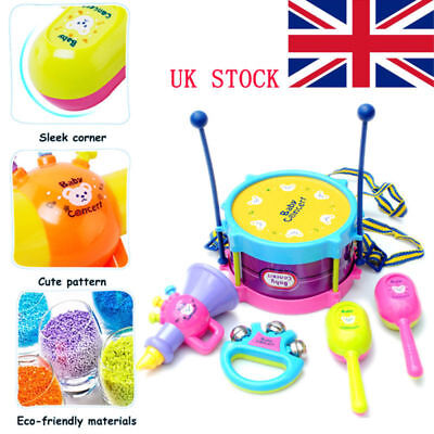 5X Baby Boy Girl Drum Musical Instruments Set Children Early Educational Toys UK
