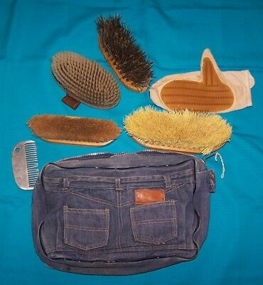 Assortment Of Vintage Horse Grooming Brushes In A Unique Denim Jean Bag
