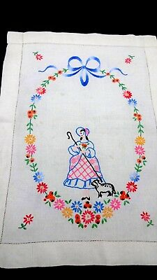 Vintage hand embroidered  panel picture tapestry Little Bo Peep