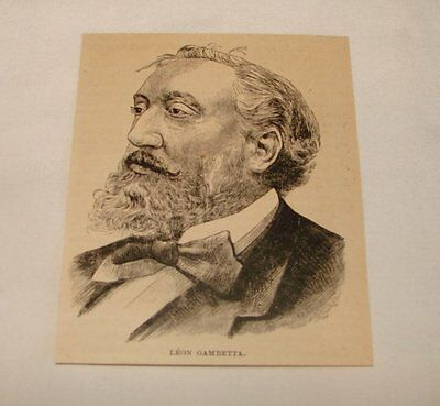 1887 small magazine engraving ~ LEON GAMBETTA