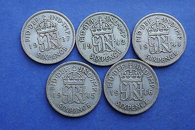 George VI Sixpences - 1937 to 1952 choose your date - Selected circulated