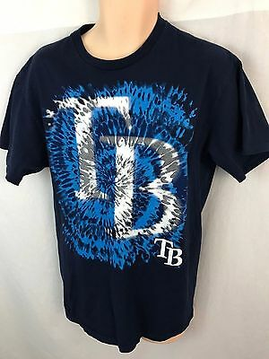 Tampa Bay Rays Mens Large Tie Dye Tshirt Short Sleeve  Blue White Majestic