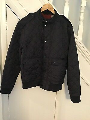Mens Xl Navy Barbour International Quilted Lightweight Bomber Style Jacket Vgc