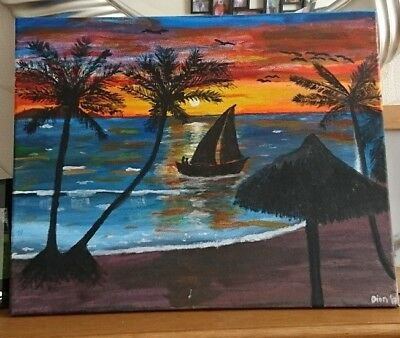 tropical acrylic painting