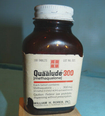 Vintage RORER QUAALUDE - 300 mg Amber Bottle, 1971, Empty  and Unusual!