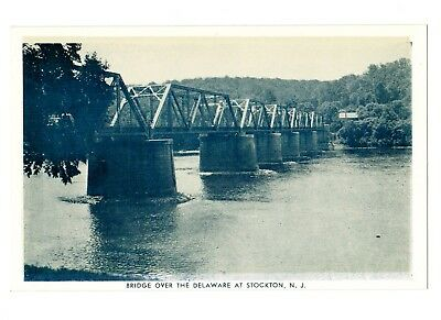 Stockton Bridge View Postcard Hunterdon County NJ unmailed circa 1930's