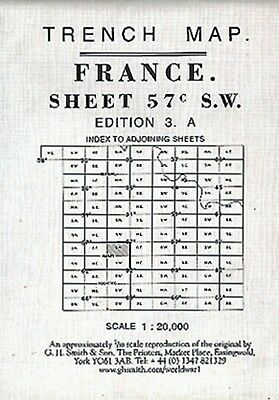 World War 1 Trench Map French Sector France Sheet 57C S.w. Ed 3A (Loc.27)