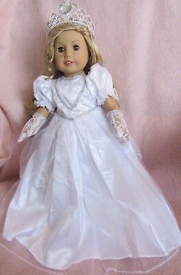 White Princess Dress Set fits American Girl Doll 18 Inch Clothes Seller lsful
