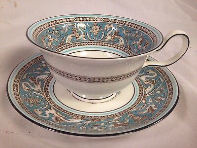 "Wedgwood (Florentine Turquoise) 2 1/8"" PEONY CUP & SAUCER SET(s)(3 Avl) W2714"
