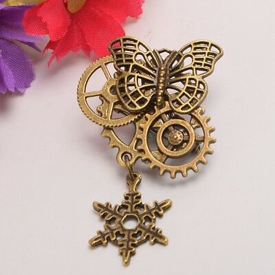 Victorian Gothic Snowflake Brooch Breastpin Steampunk Butterfly Gear Breast Pin