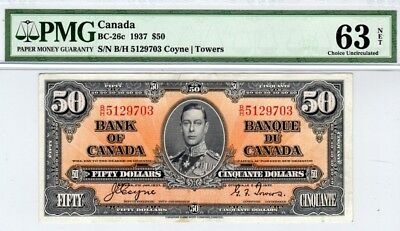 1937 Bank of Canada $50. BC-26c, Coyne-Towers, PMG Choice Unc63 NET, B/H5129703