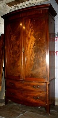 Excellent Victorian inlaid bow front flame mahogany wardrobe cupboard