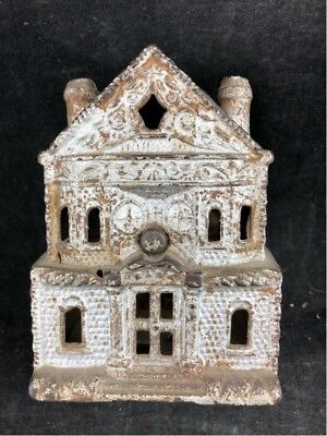 "Circa 1892 Antique Cast Iron Bank Building Victorian House 2 1/2"" X 3 1/4"" 4.5"""
