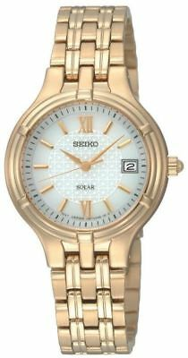 Seiko Solar $250 Women's Gold Stainless Steel Watch, White Dial, Date Sut018