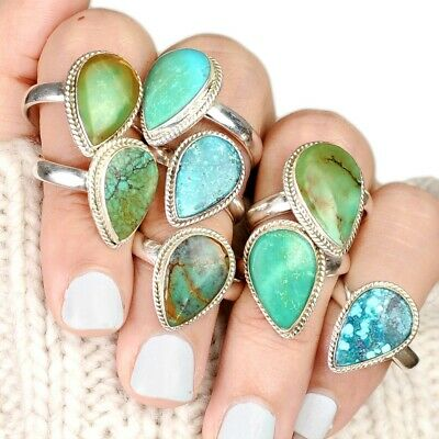 Sterling Silver Ring Turquoise Gemstone Wide Boho Chunky Womens Size 6 8 9