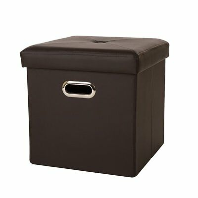 Glitzhome Foldable PVC Cube Storage Ottoman with Padded Seat
