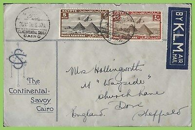 Egypt 1936 Continental Savoy cover and cancel cover per KLM to England