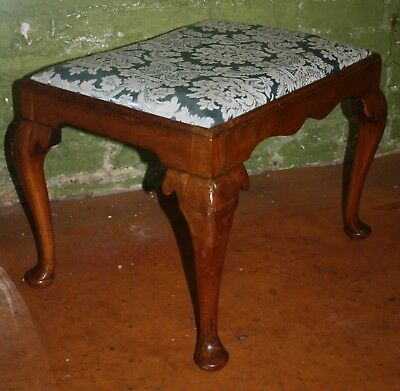 Large Victorian quality walnut dressing table stool with drop in seat