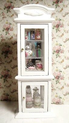 Dollhouse Shabby Chic Display Cabinet, Filled W/ Vanity Items Including Reutter
