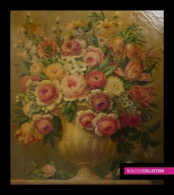 ANTIQUE ORIGINAL End 19th cent FRENCH OIL ON CANVAS PAINTING Flowers 28 X 23 in.