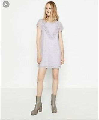 Bnwt Zara Victorian lilac Lace Dress Size S sold out