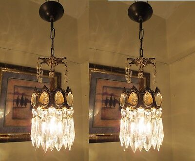 PAIR OF Antique Vintage French Basket Style Crystal Chandelier Lamp 1940's.4 in.